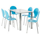 NEW Zoe 7 Piece Dining Set With Harry Chairs White By Fantastic Furniture
