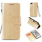 Gold Retro Light oil wallet Leather case cover with strap for iphone Samsung LG