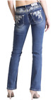 Grace In LA Easy Fit Bootcut Rose Flower Stiched Denim Jeans