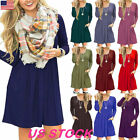 Womens Long Sleeve Pocket Basic T-Shirt Dress Tunic Top Loose Swing Casual Dress