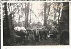 Original German WW2 Photo Heer Group Relaxing Outdoors Lawn Chairs Vehicle