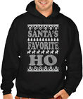 Men's Santa's Favorite HO Black Hoodie Sweater Ugly Christmas Holiday Funny Elf