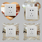 4pcs Silver Mirror Flower Light Switch Surround Wall Sticker Cover Frame Decor Y