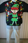 NeW Ugly Christmas Sweater Men Funny Merry Elfin Xmas Sweatshirts with Lights