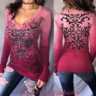 VOCAL Womens Burgundy Ombre Stone Embellished Graphic Sheer Lace Biker Top Shirt