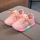 Kids Boys Girls Light Up LED Luminous Trainers Shoes Baby Outdoor Train Sneakers
