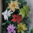 Внешний вид - 10pcs Christmas Hollow Flower Xmas Tree Ornaments Wedding Party Home Decoration