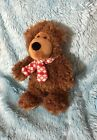 "Manhattan Toy Co Christmas Bear 11"" Plush Stuffed Cute Brown Red Scarf"
