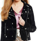 New Woman Native American Black Silver Star Studded Brando Suede Leather Jacket