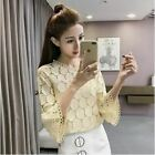 New Hollow Out Lace Flare Sleeves O-Neck Slim Blouses Tops Women Clothing