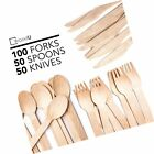 WoodU Wooden Cutlery Set Disposable Utensils All-Natural, Eco-Friendly, Biode...