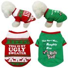 Small Pets Dog Shirt Christmas Tops Puppy Cat Pullover Hoodie Apparel Clothing