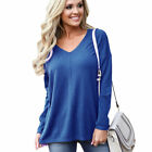 New Womens Long Sleeve V Neck Loose Knitted Sweater Ladies Casual Jumper Tops UK