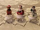 Christmas Lot of 3 Cup Cake Toppers Santa, Snowman and Teddy Bear