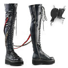 Pleaser Demonia Emily 377 Black Stretch Punk Platform Over Knee Lace Up Boots
