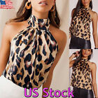Sexy Womens Halter Tank Tops Leopard Print Vest Backless Blouse Camisole Cropped