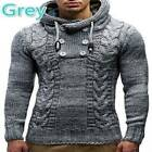 Men's Thicken Knit Double-breasted Hoodie Slim Fit Cardigan Solid Sweater Coat