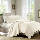 BEAUTIFUL CLASSIC COZY COTTAGE SCALLOPED CREAM IVORY OFF WHITE SOFT QUILT SET image