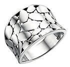 Elements 925 Polished Sterling Silver Wide Band Open Cobblestone Concave Ring