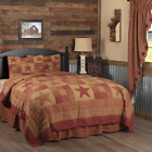 3-pc Ninepatch Star Quilt Set - Twin, King, California, Queen, Burgundy, Tan VHC image