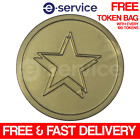 GOLD STAR EMBOSSED PLASTIC TOKENS 29mm CHRISTMAS CELEBRATION EVENT NEW YEAR XMAS