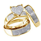 Women Men Couple Ring Yellow Gold Plated Fashion Wedding Ring Set Jewelry Gifts