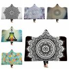 3D Printed Mandala Hooded Plush Blanket Adult Soft Warm Wrap Washable Thick Nap image