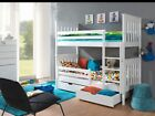 Max WHITE 3ft Single Wooden Bunk Bed with Mattresses & Storage NEW Free P&P