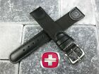 New Black Leather Strap Nylon Watch Band 20mm 19mm Wenger Swiss Army Black image