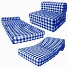 Navy Checkers 6 x 32 x 70 Sleeper Chair Folding Foam Beds High Density Sofa Bed