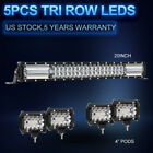 "20"" +4"" Pods 3ROWS LED Light Bar Work Lamp Combo Spot Flood ATV 22 12V PK 52"" 42"
