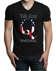 Men's We Are Q WWG1WGA Black V-Neck Tee Shirt Donald Trump Army Military America