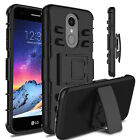 For LG Rebel 4 LTE Case Hybrid Clip Holster Stand Armor Cover + Screen Protector