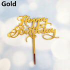 New Glitter Cake Topper Happy Birthday Acrylic Baking Cake Insert Decor Party BN