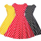 Women 50s Vintage Swing Polka Dot Dress Cocktail Formal Party Sleeveless Gowns