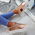 WOMENS LADIES FLATFORM SNEAKERS STUDDED LACE UP TRAINERS CASUAL PARTY SHOES SIZE