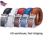 Fashion Men's Leather Ratchet Dress Belts with Automatic Buckle Colorful 43''
