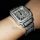 Luxury MIGOS Iced out Square Lab Diamond Metal Band Dress Clubbing wrist Watch