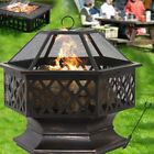 Large BBQ square Fire Pit Folding Steel Garden Camping Patio Heater Log Burner