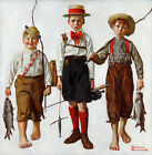 "26W""x26H"": CATCH by NORMAN ROCKWELL - KIDS FISHING- CHOICES of CANVAS"