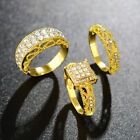 Lady Gold Silver Plated Crystal Cubic Zircon Weeding Rings Set Jewelry Size 5-12