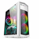 ATX Mid Tower Computer Gaming PC Case Tempered Glass with 4 LED Fan USB 3.0