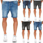 Herren Basic Jeans Shorts Kurze Denim Bermuda Krempel Stretch Hose Regular 7992
