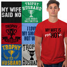 Handsome Trophy Husband Bachelor Party Tees | Funny Married Groom Mens T shirts image