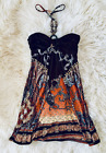 Size 8 Brown Orange Burnt Coral Tie Up Dress Tight Beaded Neck Detail