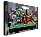 Marvel Superheroes Playing Pool - Canvas Framed Wall Art Print - Various sizes