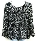 George ME Shirt Black White Foral Sheer Pull Tie Waist Womens Size 2x