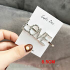 Women's Girls Lady Crystal Letter Pearl Hair Clip Gold Hairpin Hair Slide Grips