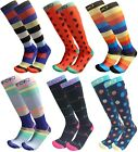 Graduated 15-20mmHG Knee High Colorful Fun 6-Pair Compression Support Socks