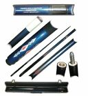 Blue Marble Graphite 2 Piece Pool Cue Stick with Case 20 OZ